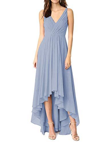 Asymmetrical Ruched Bodice Dress - Lianai Women's Ruched Bodice High Low Chiffon Bridesmaid Dress Short Wedding Guest Dresses Dusty Blue,0