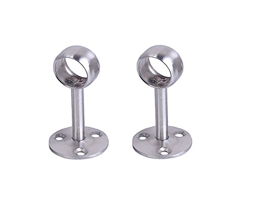 Steel Hangers Stainless Pipe (NELXULAS Stainless Steel Wardrobe Pipe Lever Wall Mounted Support Bracket (2ZT))