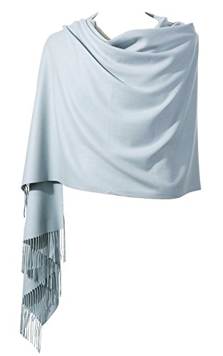 Womens Pashmina Shawl Wrap Scarf - Ohayomi Solid Color Cashmere Stole Extra Large 78''x28'' (Silver Grey) by OHAYOMI