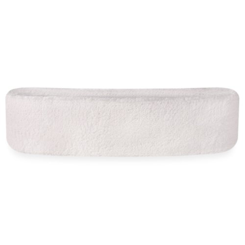 Suddora Head Sweatbands - Athletic Cotton Terry Cloth Headbands for Sports (White)