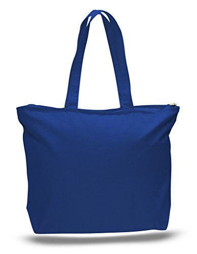 Zip Top Heavy Canvas Tote Bag with Bottom Gusset, Royal, Set of 1 (Bags Promotional Canvas Tote)