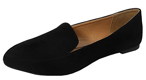 Jynx Women's Classic Slip-On Driving Smoking Loafer Flat,8 M US,Black by Jynx