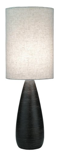 Lite Source LS-2999 Quatro Table Lamp, Brushed Dark Bronze with Linen Shade