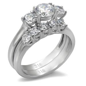 womens stainless steel 3 stone clear cubic zirconia wedding ring set - Cubic Zirconia Wedding Ring Sets