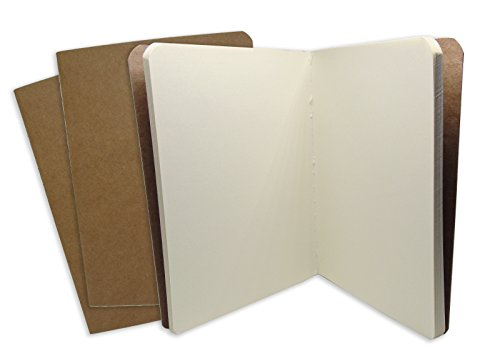 Travel Journal Set With 3 Notebook Journals for Travelers - Unlined Page Cream Papers - Kraft Brown Soft Cover - A6 Size - 105 mm x 148 mm - 38 Pages