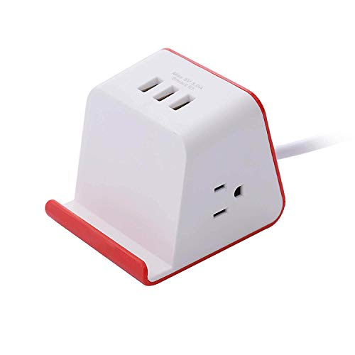 Usb Ministation - ZDZHU Smart Charging Mini Station Power Strip Surge Protector No Wireless Charging, USB Charging Station for Desktop, 3 USB 2 AC Outlets Cubic Space Saving Design,C