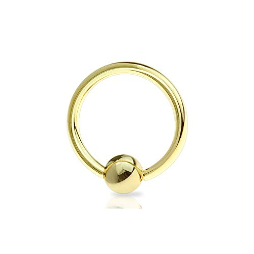 Dynamique 10g Gold IP Over Stainless Steel Captive Bead Ring (Sold per Piece)