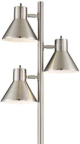 Luken Modern Floor Lamp 3-Light Tree Brushed Steel Adjustable Heads for Living Room Reading Bedroom Office - 360 Lighting