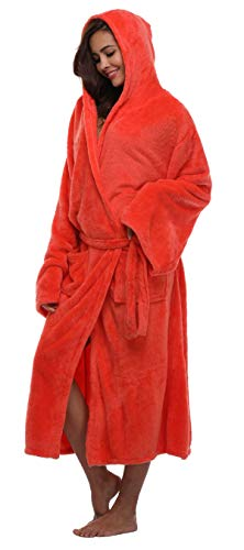 FADSHOW Fleece Robes For Women With Hood, Jacinth, Large/X-Large -