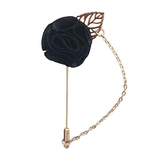 Wansan Felt Flower Brooches Pins, Rose Shape Brooch Boutonniere Lapel Pin Wedding Party Jewelry Covered Scarves Shawl Clip For Woman 9cm3.5cm