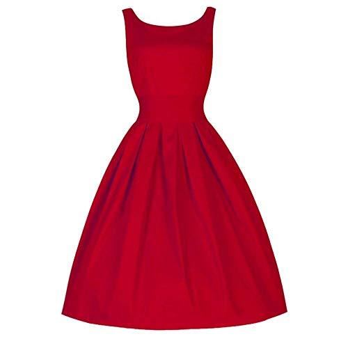 Oudan Ladies Retro Dress Women Solid Color Round Neck Summer Dress Fashion Waist Party Dresses Elegant Beach Gowns Chic Festive Big Skirt Dresses (Color : Red, Size : M) ()