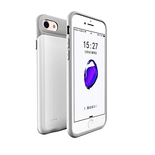 iPhone 8 Plus/7 Plus/6 Plus Battery case Slim Rechargeable Protective Battery Bank Charging Case [Lightning Charging Port] and [Jack 3.5mm Port] for iPhone 6/6s Plus (5.5 inch)-4000mah (White) (Iphone 5 Battery Case White)