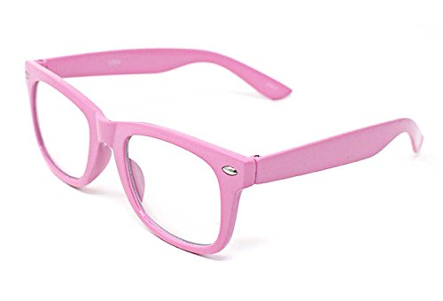 Pink Classic Style Multi Colour Clear lens Classic Frames Perfect for Costumes Parties Glasses Gift Nerds and - Dress Ideas Up Day Nerd