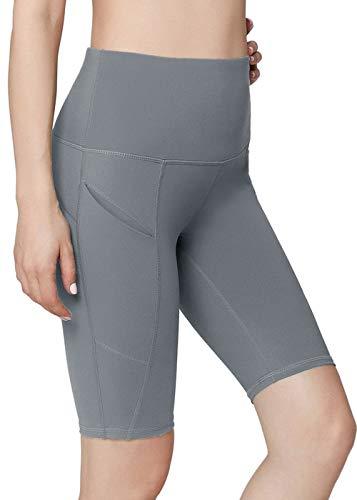 Yoga Side Pockets High Waist Workout Running Shorts Light Grey XL ()