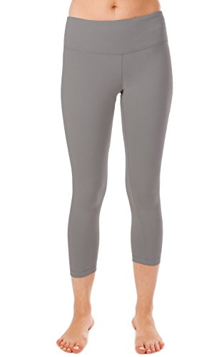 Yisqzjzj The Popular Yoga Capris - Yoga Capris for Women - Hidden Pocket Silver GreyMedium Shipping from USA about 2-3 days