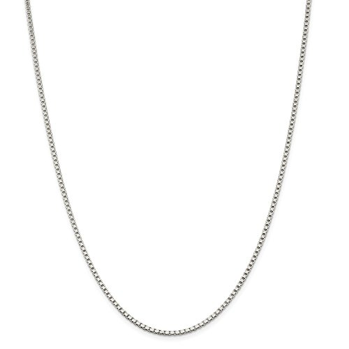 Jewelryweb Sterling Silver Box - Sterling Silver 2mm Box Chain Necklace - 28 Inch