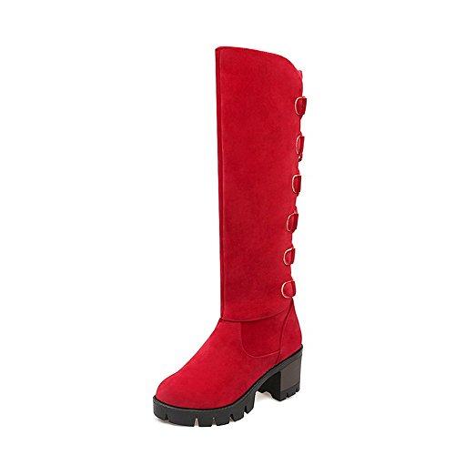 AllhqFashion Mujer Tacón Alto Esmerilado Sólido Cordones Puntera Redonda Botas Rojo