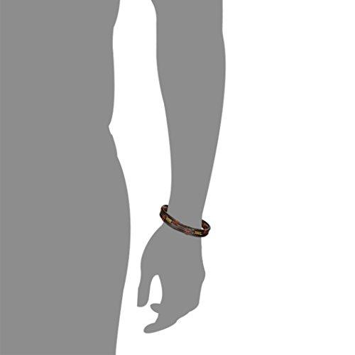 ORAZIO 3PCS Pulsera de cuero para hombres Brazalete trenzado de muñeca trenzada vintage, 8.5 pulgadas