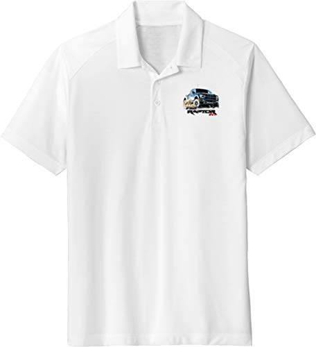 Ford F-150 Raptor Pocket Print Tri Blend Wicking Polo, White -