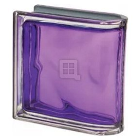 Quality Glass Block 7.5 x 7.5 x 3 Pegasus Metalized Indaco Wave End Block Glass Block