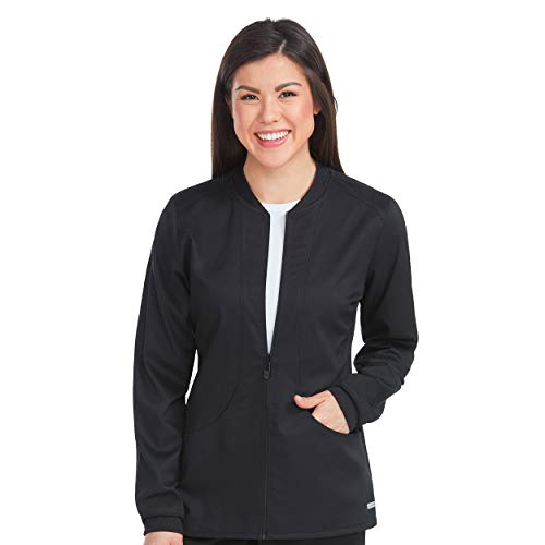 Med Couture Touch Women's Zip Front Warm Up Scrub Jacket, Black, Large ()