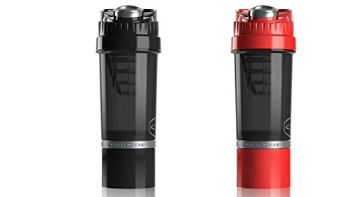 Cyclone Cup Shaker Bottle 20oz - Set of 2 - Black and Red (And Go Bottle Shake Mixer)