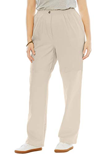 Woman Within Women's Plus Size Elastic-Waist Cotton Straight Leg Pant - Natural Khaki, 30 -