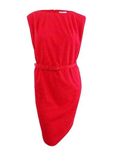 - Tahari ASL Women's Plus Size Belted Sheath Dress (20W, Red)