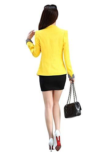 Ufficio Gelb Giacca Fit Elegante Lunga Giacche Slim Blazer Autunno Donna Cappotto Button Tailleur Business Con Ragazza Da Tasche Fashion Reticolo Manica Giaccone Vintage Primaverile SddgqRw