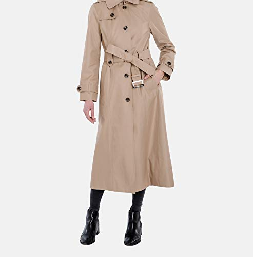 London Fog Women's Single-Breasted Trench Coat with Belt, British Khaki, Extra Large