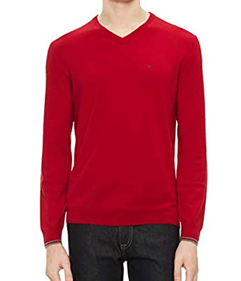Calvin Klein Men's Merino Sweater V-Neck Solid, Celebrity red, Medium