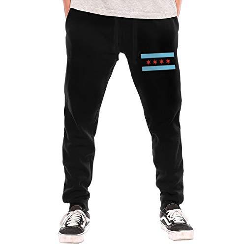 Mens Jogger Sweatpants Made in Chicago Elastic Waist Lounge Pants Black]()
