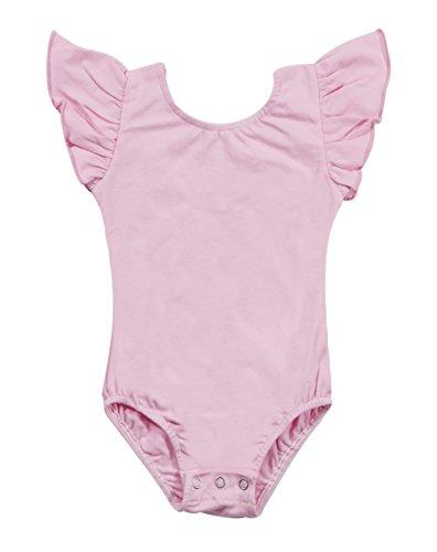 - Newborn Baby Girls Flutter Sleeve One-Piece Romper Ruffle Leotard Onesies Bodysuit Size 18-24 Months/Tag100 (Pink)
