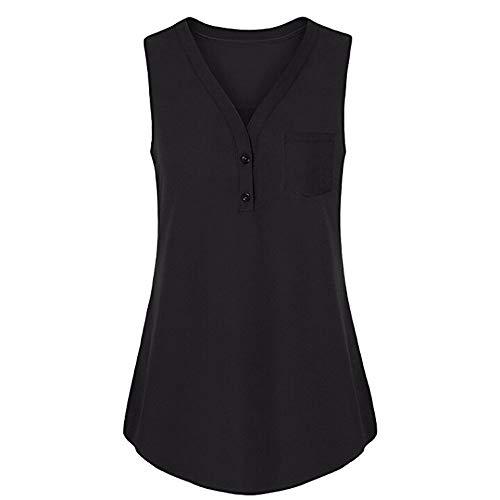 (Sales! Cinsanong Women Summer Camisole, Ladies Solid Color Loose V Neck Tank Tops Sexy Fashion Plus Size Vest Black)
