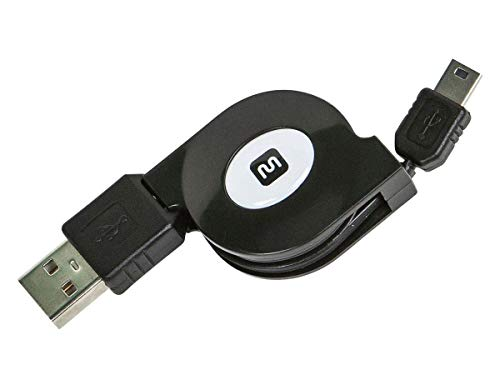 Monoprice 10958 USB 2.0 Retractable Cable - A Male to Mini 5-Pin - 2.5 ft. ()