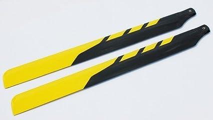 2PCS1 Pair 325MM Fiber Glass Main Rotor Blades For Align Trex 450 450SE V2  V3 450XL Yellow and black style