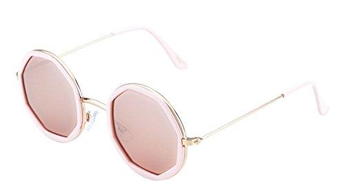 Round Metal & Plastic John Lennon Sunglasses w/ Octagon Color Lenses (Gold & Pink Frame, - Lennon Pink John Glasses