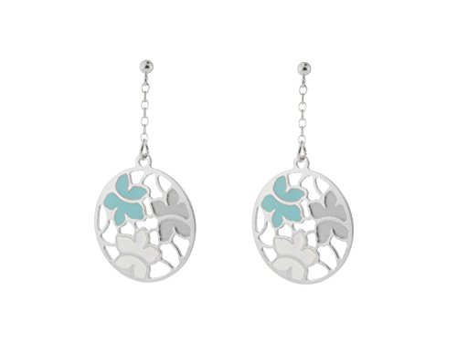 Fronay Co Etruscan Turquoise & White Flower Earrings in Sterling Silver