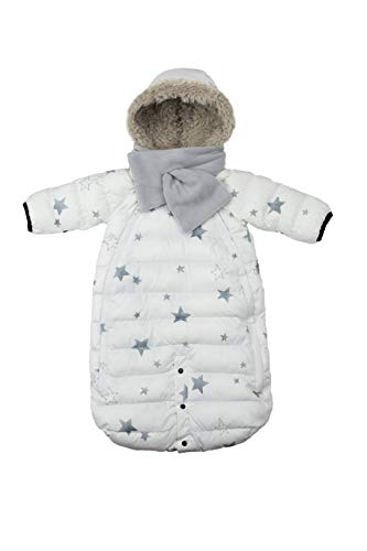 - 7 A.M. Enfant Doudoune One Piece Infant Snowsuit Bunting, Print Black/White Stars, Large