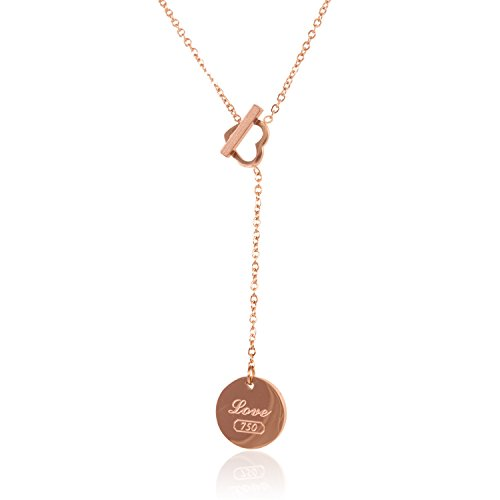 I's Rose Gold Plated True Love Heart Stainless Steel Pendant Necklace Valentine's Gifts