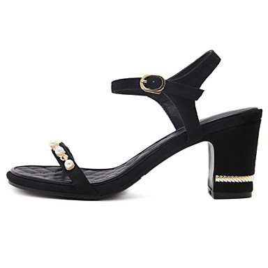 Luce YCMDM donne sandali primavera-estate Soles similpelle casuale tacco grosso nero Almond , black , us6 / eu36 / uk4 / cn36