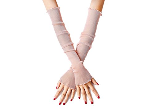 Yamer Ladies Pink Wedding Bridal Summer UV Gloves Long Sheer Fingerless Gloves (Gloves Bridal Sheer)