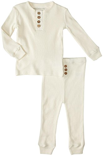 burts-bees-baby-unisex-baby-henley-pajama-tee-and-pant-set-ivory-18-months