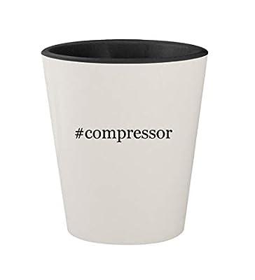 #compressor - Ceramic Hashtag White Outer & Black Inner 1.5oz Shot Glass