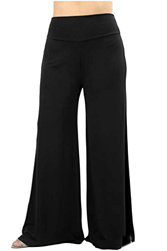 TOP LEGGING TL Women's Versatile Comfy Wide Leg Long Boho Maternity Palazzo Gaucho Pants Black ()