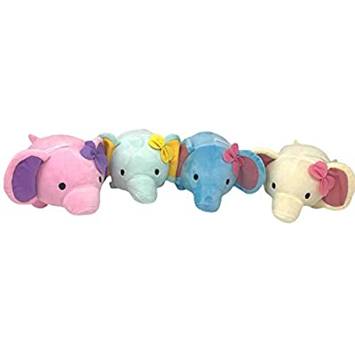 EC Outlets Stuffed Elephant Plush Animal Toy Soft Stuffed Animal Gifts, 4 Packs: Toys & Games