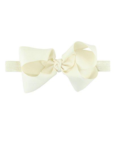 RuffleButts Baby/Toddler Girls Ivory Bow Headband - One ()