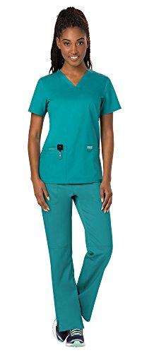 (Cherokee Workwear Revolution Women's Medical Uniforms Scrubs Set Bundle - WW620 V-Neck Scrub Top & WW110 Elastic Waist Scrub Pants & MS Badge Reel (Teal Blue - Large/Large Tall))