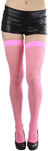 ToBeInStyle Women's Fishnet Thigh Hi - Neon Pink (Pink Fishnets)