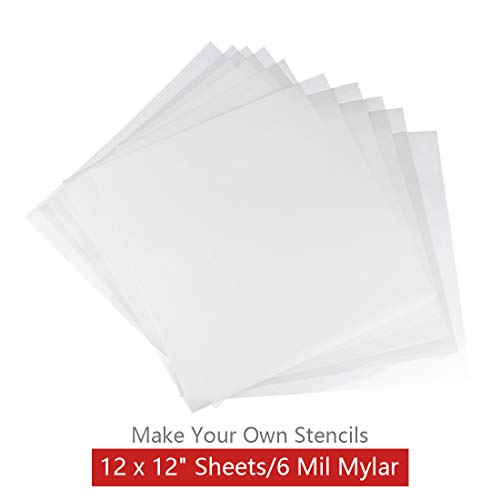 10 Pack 6 mil Blank Stencil Making Sheets 12 x 12 inch Ideal for Use with Cricut & Silhouette Machines(Mylar Material)